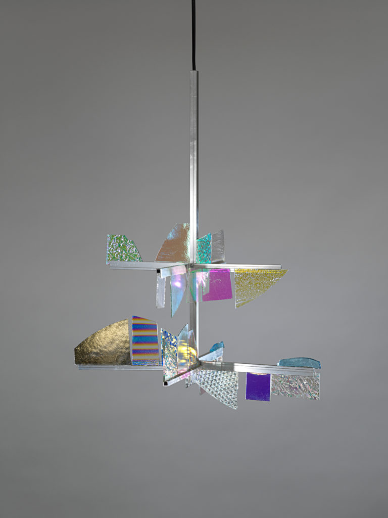 LABINAC Dichroic Glass Chandelier, 2018, dichroic glass, aluminium, cable appr. 57 x 42 x 41,5 cm (without cable), designed by Jimmie Durham for LABINAC, ph: Nick Ash