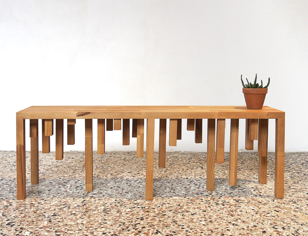 LABINAC Stalactite Bench, 2018, wood 145 x 30 x 50, designed by Jimmie Durham for LABINAC, ph: Kai-Morten Vollmer